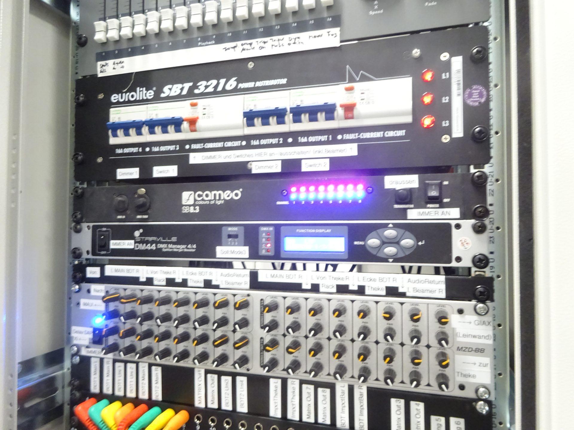 Audio Rack Beschriftung Matrix