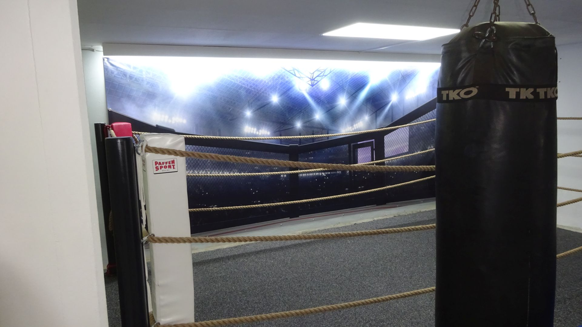LED-Beleuchtung Boxring im Fitnessstudio