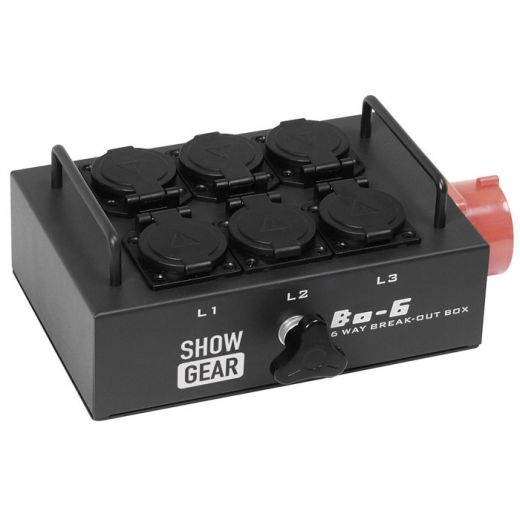 Showtec BO-6-PW Break-out Box CEE 16A 5 Pint to 6 Schukos (