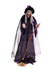 EUROPALMS Halloween Hexe, animiert Stehende Hexenfigur mit Besen