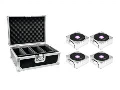 EUROLITE Set 4x AKKU IP Flat Light 1 chrom + Case