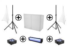 EUROLITE Set AKKU 2x Flat Light 3 sw + Bar-6 + Ständer